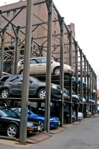 Cars on a Rack in NYC